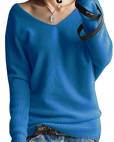Shallgood Damen Mode Kaschmir Pullover Sexy Lose Große Langen Ärmeln V-Ausschnitt Fledermausflügel Herbst Und Winter Ärmel Pullover Blau DE 40 (Blu-neckholder)
