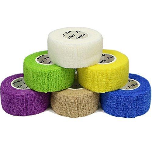 YUMAI Vendaje Elástico Adherente Wrap Cinta 2.5cm x 4.5m (Púrpura), Self Adhering Stick de Compresión Para Vendaje una Herida Tobillo Apoyo o Médico Supplies - 6 Rolls
