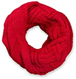 styleBREAKER Strick Loop Schal mit Gitter- und Rippenmuster, Uni Feinstrick Schlauchschal, Winter Strickschal, Unisex 01018155, Farbe:Rot