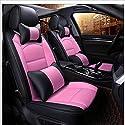 NUANXIN Leder-Auto-Sitz-Abdeckung Vollsatz von General Motors Innenarchitektur-Accessoires Car Seat Protection Pad 9 Stücke,Pink