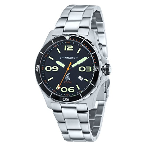 Spinnaker Men's Change Watch with Solid stainless steel case, Black dial and Three interchangable straps (SP-5017-S1)
