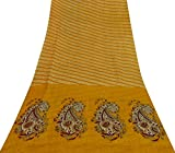 Vintage Tissue Organza Seide Gelb Saree Indian Leaf Print