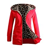 Trada Damen Wintermantel, 1 STÜCK Frauen Plus SAMT Verdickt Kapuzenpullover Leopard Zipper Coat Strickjacke Outwear Hoodie Baumwolle Trenchcoat Mantel Winter Warm Coat (XL, Rot)