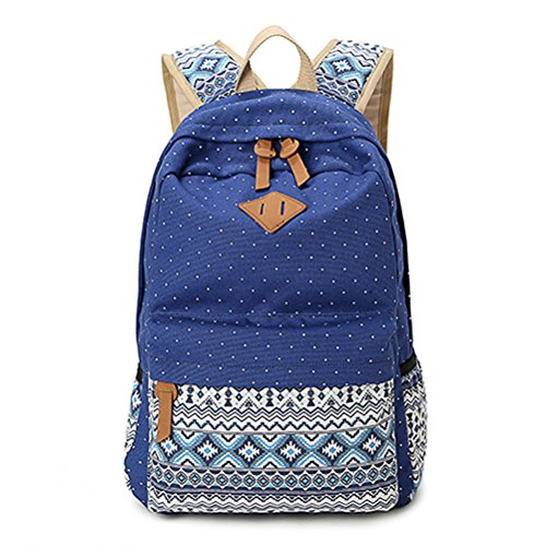 Winnerbag Vintage Schultaschen für jugendliche Mädchen Schultasche große Kapazität Dame Leinwand Dot Drucken Rucksack Rucksack Rucksack Bookbag Blau