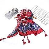 MONEYY Autumn Creative national Wind geometric printing hand-knitted scarf long tassels printed shawl 90*180cm, C