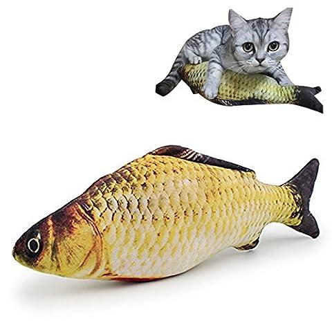 BeYself 30CM Catnip Toys Simulation Peluches en forme de poisson Forme Interactive Pets Pillow Chew Bite Supplies pour Cat / Kitty / Kitten Fish Flop Cat Toy Catnip Crinkle Toys
