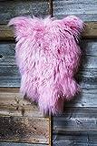 ESTRO | Original ISLÄNDISCHER Schafsfell Lammfell Teppich | Glänzend und luxuriös | Farbvielfalt (Pink, 80 cm)