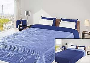 220x240 himmelblau dunkelblau Tagesdecke Bettüberwurf Steppbettüberwurf Steppung zweiseitig light blue dark blue Welle