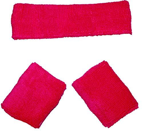 Kostüm Stirnband - Foxxeo rosa - Hummer Schweißbänder Set 80er Jahre Stirnband und 2 Armbänder Party rot Fasching Karneval