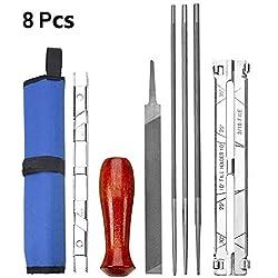 Trousse d'affûtage pour tronçonneuse, 8 pièces - Trousse de fichiers pour affûter une tronçonneuse pratique - Trousse-outils pour affûteuse de lime pour tronçonneuse - CESHUMD