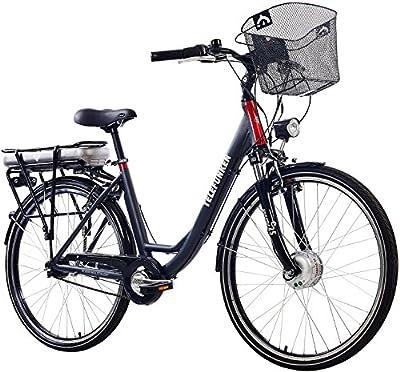 Telefunken E-Bike Damen 28 Zoll, Elektrofahrrad Alu mit 7-Gang Shimano Nabenschaltung - Pedelec Citybike leicht mit Fahrradkorb, 250W & 13Ah / 36V Lithium-Ionen-Akku, Anthrazit