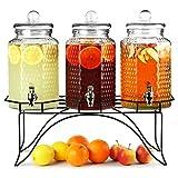 Bar@drinkstuff Del Sol 3 Getränkespender mit Ständer, 12L, ideal für Cocktails, Säfte und Limonade