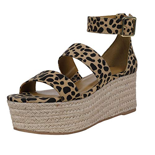 Lueyifs Damen Keilabsatz Espadrilles Knöchelriemen Schnalle Peep Toe Wedge Sandalen Flatform Sommerschuhe (Gladiator Sandalen Flatform)
