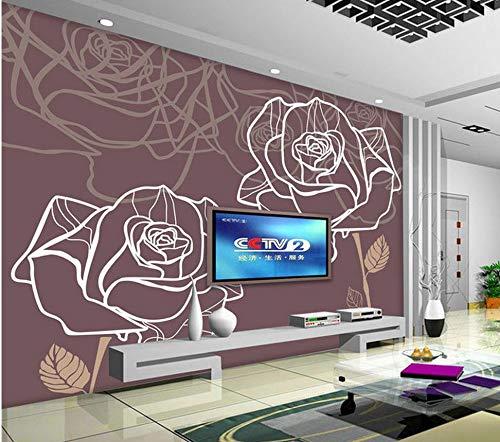 Nevso 3D Tapete Wandmalerei Fresko Wandaufkleber 3D Stereoskopische Tapete Wohnzimmer Abstrakten Linien Rosen Tv-Kulisse Benutzerdefinierte Wandbild Dekoration400cmX280cm