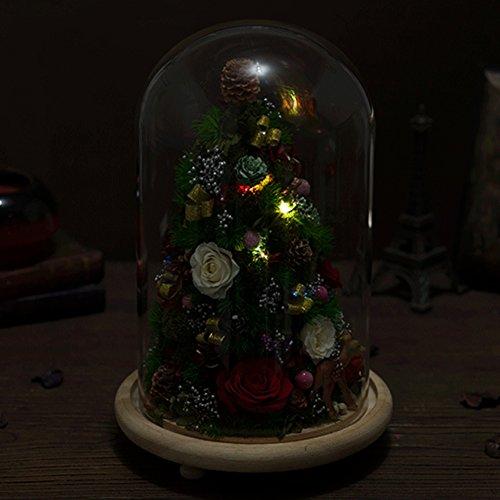 Ornements d'arbre de noël,Immortelle fleur rose Boîte de cadeau de verre de fleurs séchées Créativité décorative Fleurs-C
