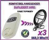 3 X CAME TOP 862EV Kompatibel Handsender, Ersatz sender, 868.3Mhz fixed code, Klone