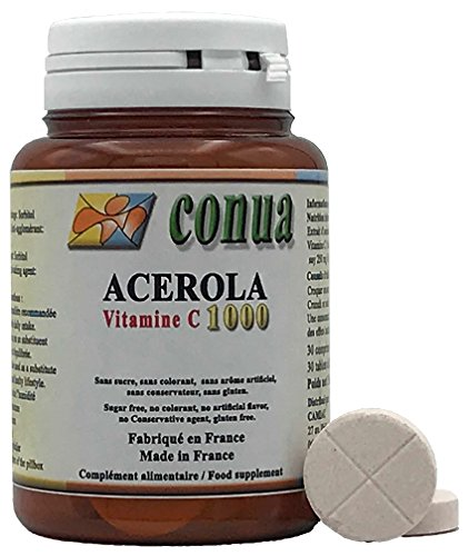 Vitamina C 1000 mg acerola natural divisible en 2 o 4 que contiene 250 mg 25% Vitamina C 30 Tabletas masticables Sin azúcar, sin colorantes, sin sabor artificial, sin conservantes, sin gluten.