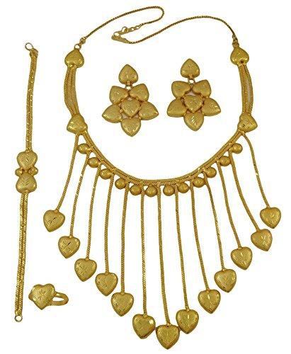 Matra partido de las mujeres de la India enchapada en oro de 18 quilates diseñador de ropa 4 PC collar étnico joyería conjunto