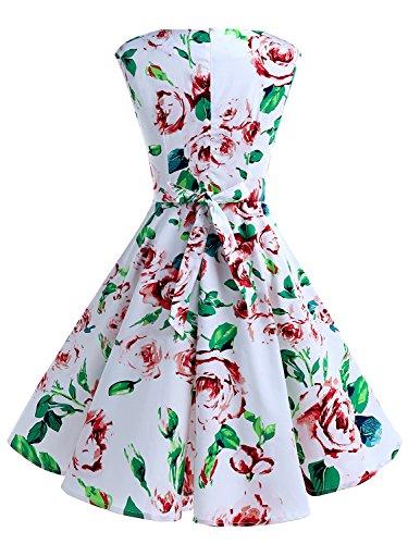 IVNIS Damen Vintage Rockabilly Semi Feste Gürtel Kleider Swing V Ausschnitt Kleid mit Taschen Weiß Blume