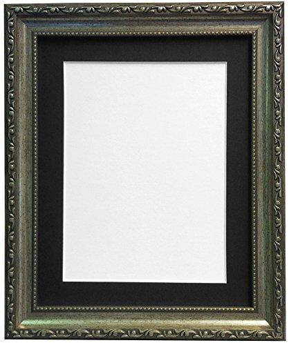 Shabby Chic Bilderrahmen Silber mit Schwarz, Weiß, Elfenbein, Rosa oder Hellblau Grau Passepartout, plastik, silber, 40x30x1.5 cm