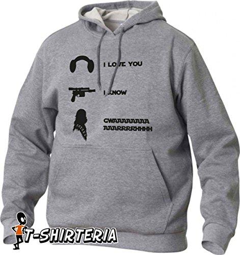 felpa con cappuccio, i love you, i know, gwaaarrrhhh- tutte le taglie uomo donna S M L XL XXL maglietta by tshirteria
