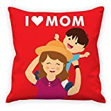 #8: I love Mom quote in the beautiful background printed Cushion Cover Special Gift combo for your Mom by Aart Store.