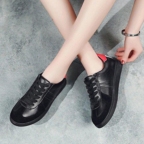 HWF Scarpe donna Scarpe casual primavera Scarpe basse per donna Studenti sportivi Scarpe singole bianche ( Colore : Black red , dimensioni : 38 ) Black Red