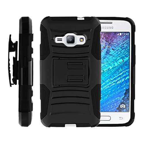 turtlearmor | Kompatibel für Samsung Galaxy J1 Fall (2016) | J120 [Hyper Shock] High Duty Belt Clip Holster Ständer Gel Hard Combo Camouflage Fall -, Schwarz