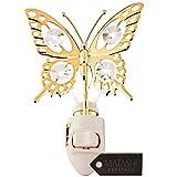 Matashi Kleine Lampe Nacht, Schmetterling, 24K vergoldeter und Zirkoniastein mit Kristallstein