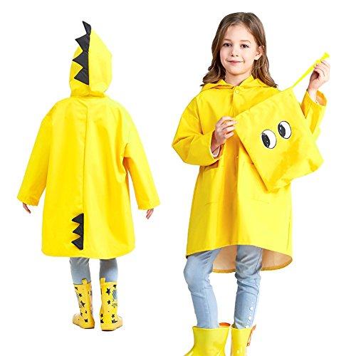 Kinder leichte Regenmantel Poncho wasserdichte Kapuze Jacke, Kind Cartoon Regenkleidung Regenanzug Student, Kindergarten Jungen Mädchen, große Hut Markise, S-3XL, gelb, M (Großen Gelben Hut)