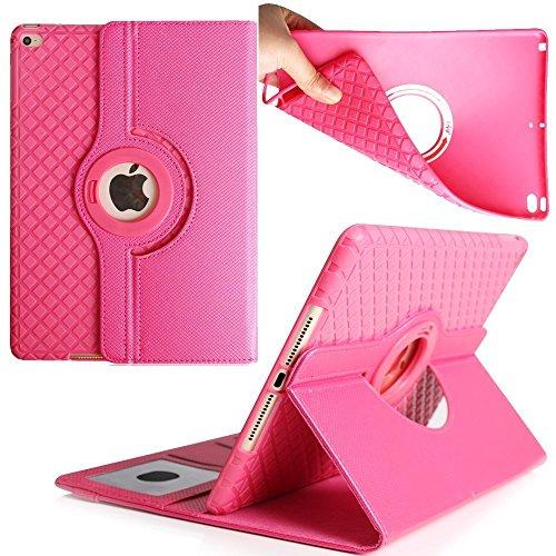 Preisvergleich Produktbild iPad 4 Case, elecfan ® Ultra Dünn Leichtgewicht 360 Grad Rotierende Hülle Tasche Wasserdicht Case Smart Cover mit Ständer Multi Winkel Betrachtung Anti Kratzer Schutzhülle für 9.7 Zoll iPad 2/3/4 (iPad 2/3/4, Hot Pink)