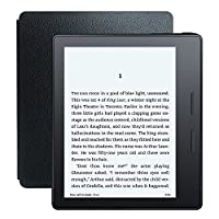 Kindle Oasis E-reader with Black Leather Charging Cover, 6' High-Resolution Display (300 ppi) with Built-in Light, Wi-Fi