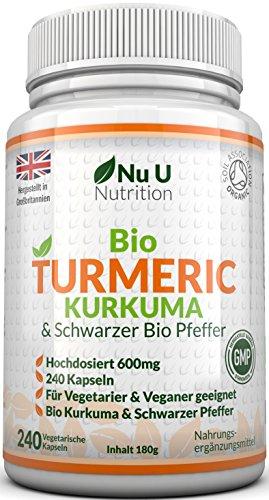Bio Curcuma | Kurkuma Kapseln Hochdosiert 600mg | 240 Kapseln mit Biologischem Schwarzem Pfeffer |...