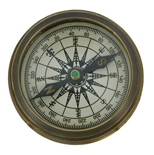 ShalinIndia Vintage inspiriert Pocket Kompass Messing mit Leder Case-2 Zoll Reise Zubehör - hergestellt in ()