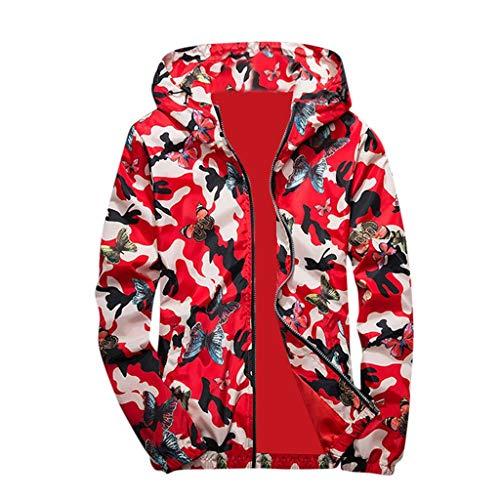 HULKY Uomo Felpe Cappotti,Upgrade Moda Camouflage Farfalla Stampa con Cappuccio Top Camicetta Capispalla Hip Hop Pullover Uomo...