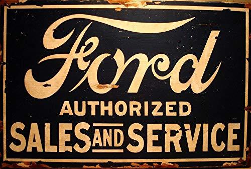 PotteLove Metallschild Ford Sales Service für Autos, Geschäfte, Garage, 20 x 12 cm