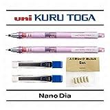 Uni Kuru Toga bille 0,7mm–Corps à aiguiser Crayon Mécanique–Rose–Lot de 2+ 24sans câbles et sans 5gommes