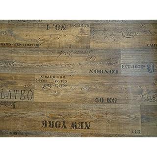 PVC mit Schriftzügen, braun - von Alpha-Tex 9.95€/m² (Länge: 500 cm, Breite: 300cm)