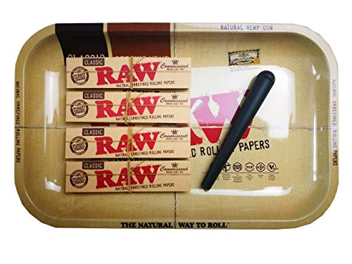 RAW 4 x Connoisseur Paper & Tips + 1 x RAW Metal Drehunterlage + 1 x Transporthülle (Raw Rolling Papers 1 1 4)