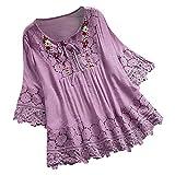 MOTOCO Damen T-Shirt Top/Kleid Spitze Seite V-Ausschnitt Schultergurt Kordelzug Kurzarm Shirt Floral Hollow Damen Freizeithemd(5XL(56),Violett)