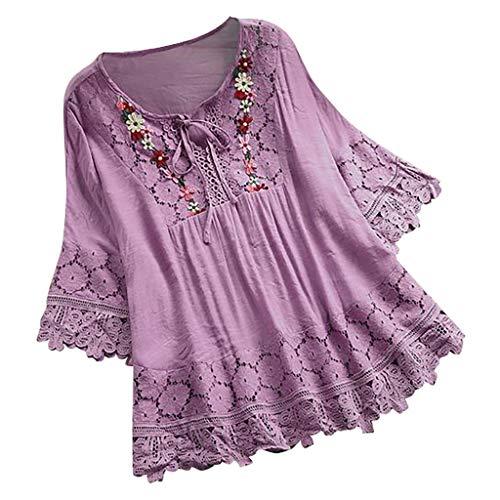 Lazzboy Frauen Weinlese Spitze Patchwork Bogen V-Ausschnitt DREI Viertel Blusen Top T-Shirt Damen Bohemian Stickerei Floral Tunika Shirt Bluse(Violett,4XL) -