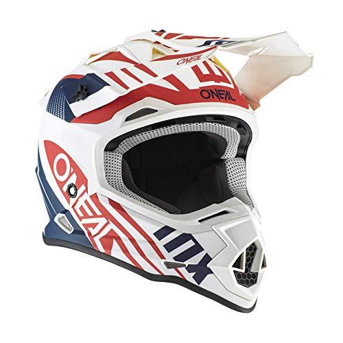 Motocross CASCHI Oneal 2SRS SPYDE Casco Moto da Uomo MX Cross Quad off-Road Sportiva Enduro Scooter Crash Racing, ECE/DOT Approvato (Blu/Rosso/Bianco,M)
