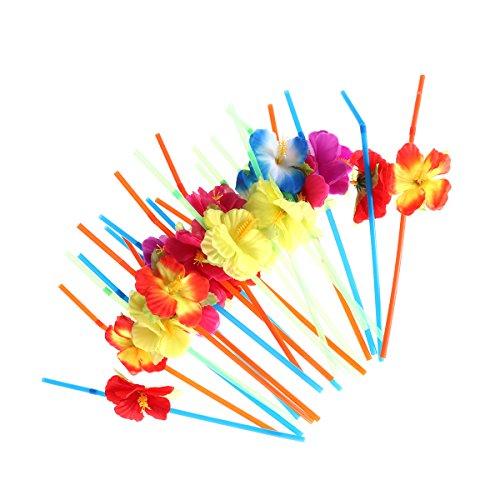 Toyvian 36 Stücke Blume Strohhalme Einweg Trinkhalme für Hochzeit Geburtstag Party Supplies (Zufällige Farben)