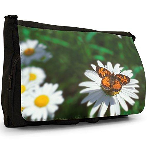 Fancy A Bag Borsa Messenger nero Butterflies On Leaf Daisy Love Orange Butterfly