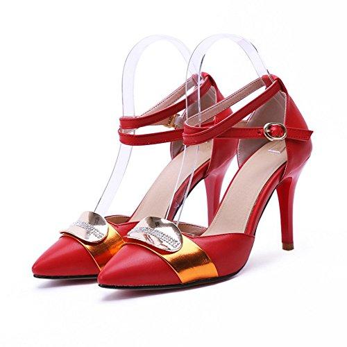 AllhqFashion Damen Stiletto Gemischte Farbe Schnalle Blend-MaterialienPumps Schuhe Rot