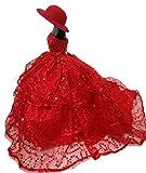 BK02 Mode magnifique robe de soirée à la main pour la poupée Barbie robes / vêtements /robe de poupée ( orange 02)