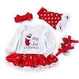 AOLVO First 2nd Birthday Vestiti per, per Bambine, Natale Vestiti per Bambino Neonato, Baby-Tutina Gonna tutù Set i Regali di Natale, White, 3-6M