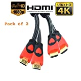 CamTech (Pack de 2) Câble HDMI haut de gamme 1.5M v2.0 Gold Haute vitesse HDTV UltraHD HD 2160p 4K 3D