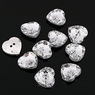 AB5 20pcs Sew on Diamante HEART BUTTONS Sparkle Acrylic Crystal Rhinestone (17mm)