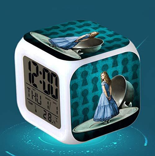 piaolinglifang store LED quadratischer Kleiner Wecker Sieben Farblichter mit Temperaturanzeigen-Weckfunktion Wecker-Animationsspiel-Peripheriewecker m001-2995